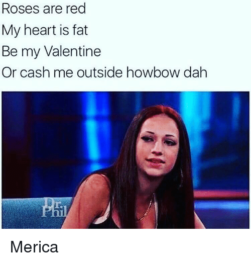 be my valentine: Roses are red  My heart is fat  Be my Valentine  Or cash me outside howbow dah Merica