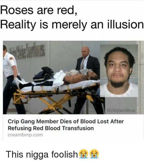 Creambmp: Roses are red  Reality is merely an illusion  @dsjoedeux  Crip Gang Member Dies of Blood Lost After  Refusing Red Blood Transfusion  creambmp.com This nigga foolish😭😭