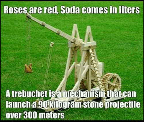 Memes, Soda, and 300: Roses are red, Soda comes inliters  A trebuchet is a mechanism that can  launch a 90 kilogram Stone projectile  over 300 meters