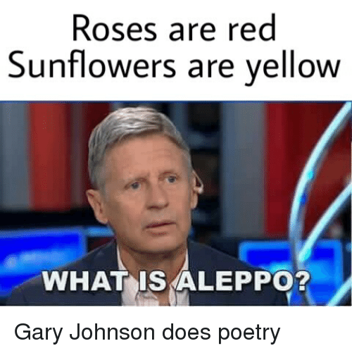 roses are red sunflowers are yellow what is aleppo gary 3967319 🔥 25 best memes about sunflower, gary johnson, aleppo, gary