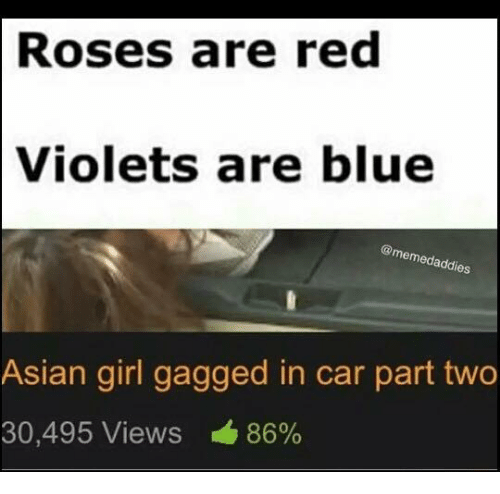 Asian, Girls, and Memes: Roses are red  Violets are blue  es  Asian girl gagged in car part two  30,495 Views 86%