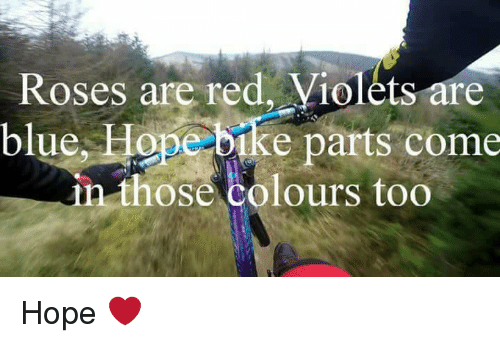 Blue, Downhill, and Hope: Roses are red, Violets are  blue, Hope bike parts come  n those colours too Hope ❤️