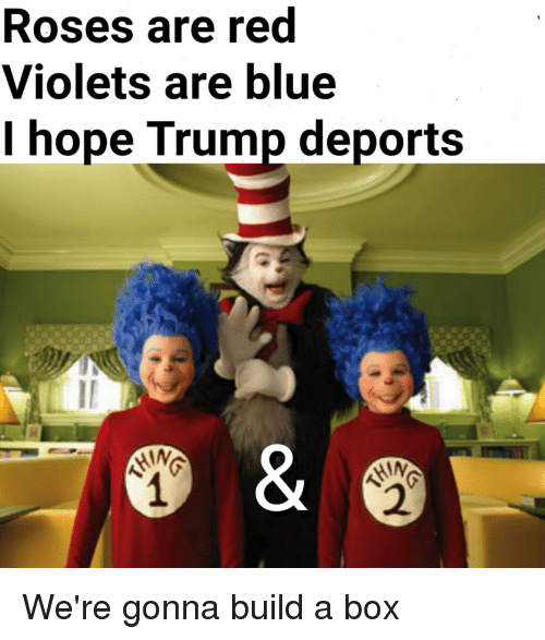Trump Deportation: Roses are red  Violets are blue  I hope Trump deports  HIN We're gonna build a box
