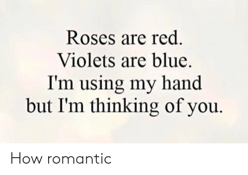 Red Violets Are: Roses are red.  Violets are blue.  I'm using my hand  but I'm thinking of you How romantic