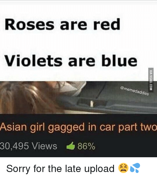 Asian, Cars, and Memes: Roses are red  Violets are blue  memed addi  Asian girl gagged in car part two  30,495 Views 86% Sorry for the late upload 😫💦