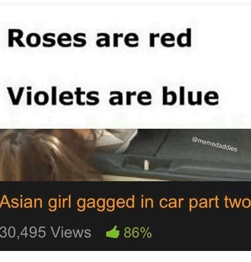 Asian, Blue, and Girl: Roses are red  Violets are blue  @memedaddi  es  Asian girl gagged in car part two  86%  30,495 Views