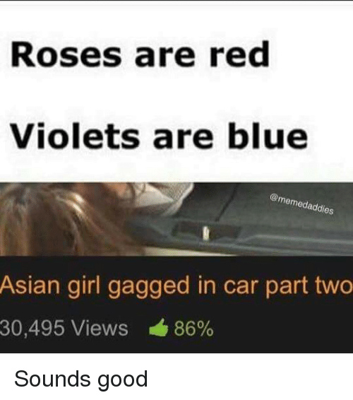 Asian, Cars, and Girls: Roses are red  Violets are blue  @memedaddies  Asian girl gagged in car part two  30,495 Views 86% Sounds good