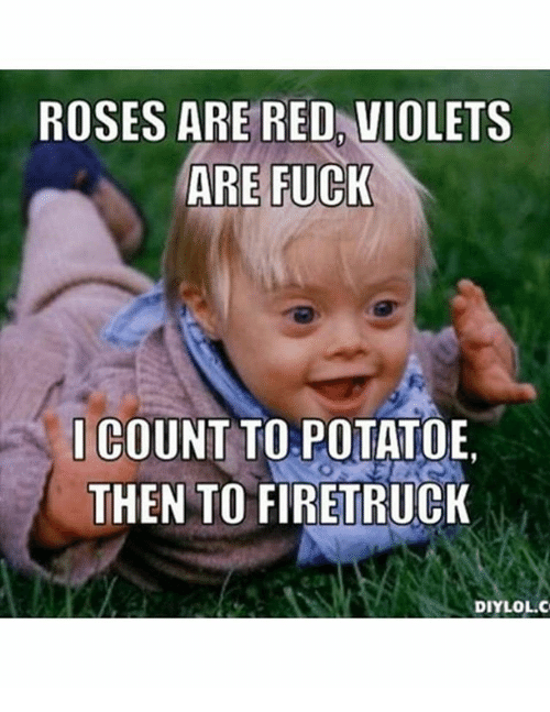 Memes, Potato, and Rose: ROSES ARE RED VIOLETS  ARE FUCK  I COUNT TO POTATOE  THEN TO FIRETRUCK  DIY LOL.C