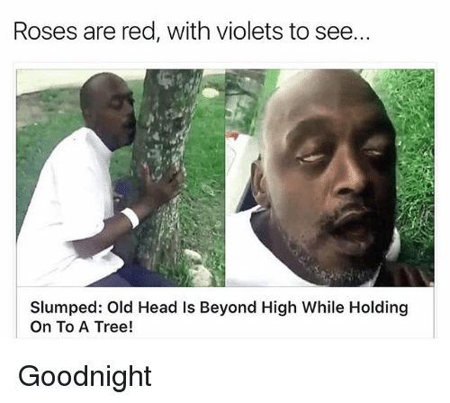 slumped: Roses are red, with violets to see..  Slumped: Old Head Is Beyond High While Holding  On To A Tree! Goodnight