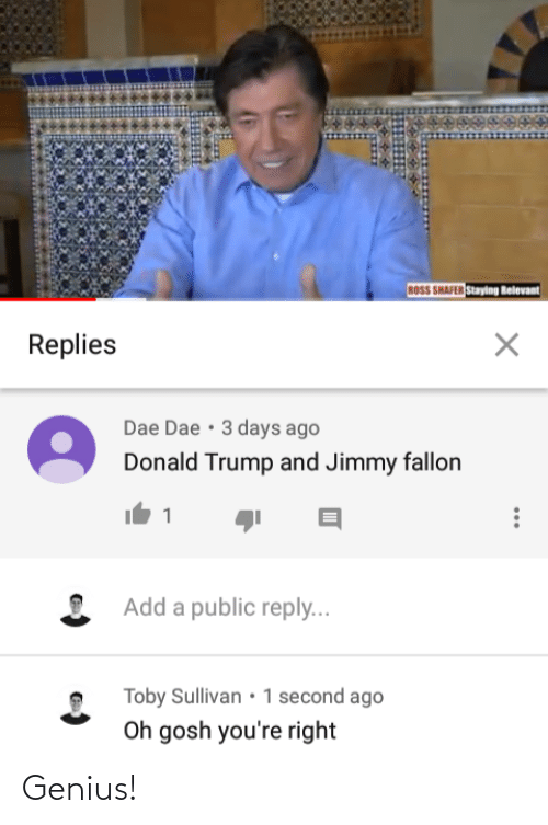 Jimmy Fallon: ROSS SHAFER Staying Relevant  Replies  Dae Dae • 3 days ago  Donald Trump and Jimmy fallon  Add a public reply...  • Toby Sullivan • 1 second ago  Oh gosh you're right Genius!