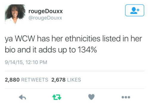 WCW: rougeDouxx  @rougeDouxx  ya WCW has her ethnicities listed in her  bio and it adds up to 134%  9/14/15, 12:10 PM  2,880 RETWEETS 2,678 LIKES