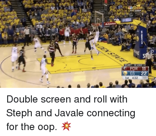 Oopes: ROUND  GS LEADS  POR 11  GS  22  1st 4:32  E11 Double screen and roll with Steph and Javale connecting for the oop. 💥