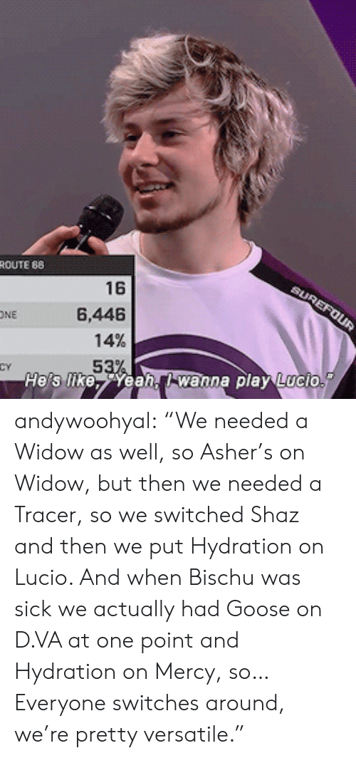 """D Va: ROUTE 88  16  6,446  ONE  14%  53  He's likeea, wanna play Lucio andywoohyal:  """"We needed a Widow as well, so Asher's on Widow, but then we needed a Tracer, so we switched Shaz and then we put Hydration on Lucio. And when Bischu was sick we actually had Goose on D.VA at one point and Hydration on Mercy, so… Everyone switches around, we're pretty versatile."""""""