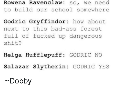 Gryffindor, Memes, and Slytherin: Rowena Ravenclaw so, we need  to build our school somewhere  Godric Gryffindor  how about  next to this bad-ass forest  full of fucked up dangerous  shit?  Helga Hufflepuff  GODRIC NO  Salazar Slytherin  GODRIC YES ~Dobby