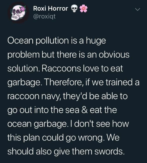 raccoons: Roxi Horror  @roxiqt  Ocean pollution is a huge  problem but there is an obvious  solution. Raccoons love to eat  garbage. Therefore, if we trained a  raccoon navy, they'd be able to  go out into the sea & eat the  ocean garbage. I don't see how  this plan could go wrong. We  should also give them swords.
