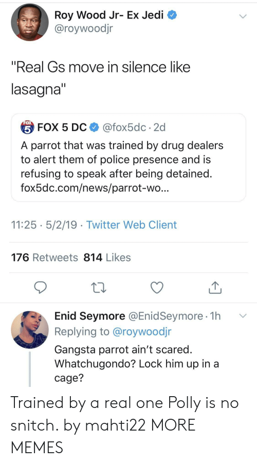 """gangsta: Roy Wood Jr- Ex Jedi  @roywoodjr  """"Real Gs move in silence like  lasagna  台FOX 5 DC $ @fox5dc . 2d  A parrot that was trained by drug dealers  to alert them of police presence and is  refusing to speak after being detained  fox5dc.com/news/parrot-wo  11:25 5/2/19 - Twitter Web Client  176 Retweets 814 Likes  Enid Seymore @EnidSeymore 1h v  Replying to @roywoodjr  Gangsta parrot ain't scared  Whatchugondo? Lock him up in a  cage? Trained by a real one Polly is no snitch. by mahti22 MORE MEMES"""