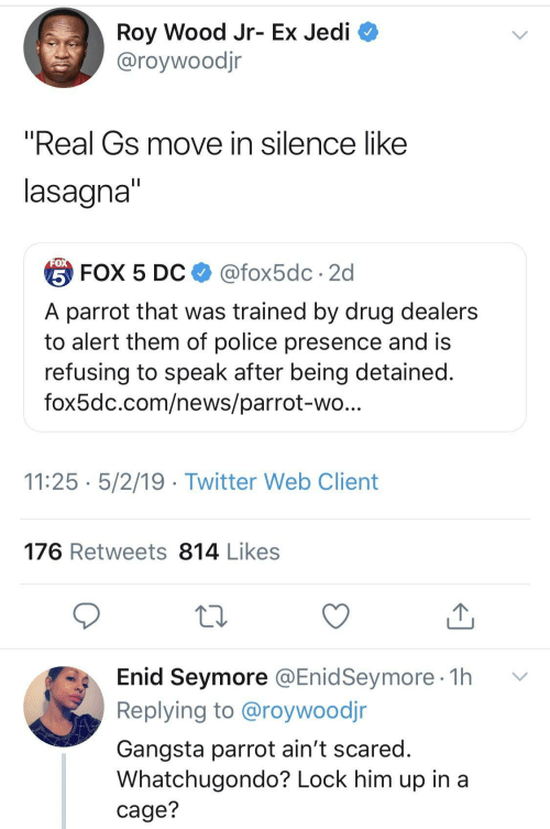 """gangsta: Roy Wood Jr- Ex Jedi  @roywoodjr  """"Real Gs move in silence like  lasagna  台FOX 5 DC $ @fox5dc . 2d  A parrot that was trained by drug dealers  to alert them of police presence and is  refusing to speak after being detained  fox5dc.com/news/parrot-wo  11:25 5/2/19 - Twitter Web Client  176 Retweets 814 Likes  Enid Seymore @EnidSeymore 1h v  Replying to @roywoodjr  Gangsta parrot ain't scared  Whatchugondo? Lock him up in a  cage?"""