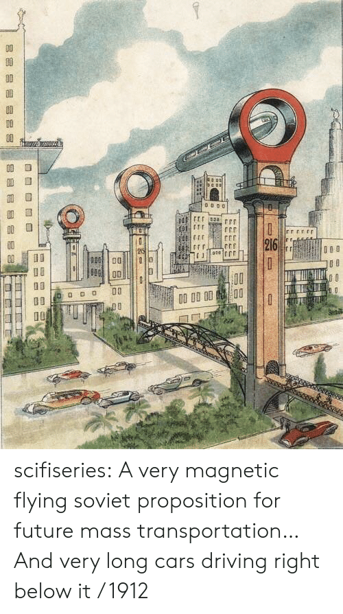 proposition: rrerr  o D 00  10 scifiseries:  A very magnetic flying soviet proposition for future mass transportation… And very long cars driving right below it / 1912