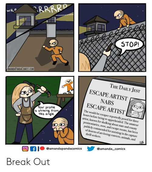 amateur: RRRRD  WRD  RRRRRRRRRRR  STOP!  AMANDAPANDACOMICS.COM  THE DAILY JEST  ESCAPE ARTIST  NABS  ESCAPE ARTIST  Your profile  is striking from  this angle  The would-be escapee reportedly posed for three  hours before being re-apprehended. The amateur  artist, known for skulking about state and county  penitentiaries, zoos, and escape rooms, has been  publicly commended for assisting in the capture  of dozens of art-loving convicts, animals, and  thrill seekers  @amanda_comics  @amandapandacomics  f Break Out