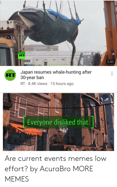 current events: RT  0:43  Japan resumes whale-hunting after  RU 30-year ban  RT 8.4K views 15 hours ago  Everyone disliked that. Are current events memes low effort? by AcuraBro MORE MEMES