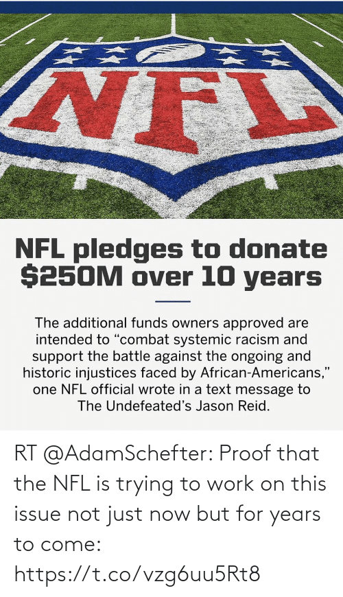 NFL: RT @AdamSchefter: Proof that the NFL is trying to work on this issue not just now but for years to come: https://t.co/vzg6uu5Rt8
