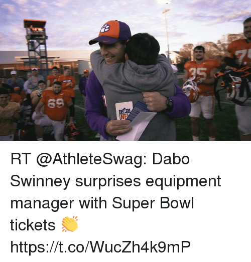dabo: RT @AthleteSwag: Dabo Swinney surprises equipment manager with Super Bowl tickets 👏  https://t.co/WucZh4k9mP