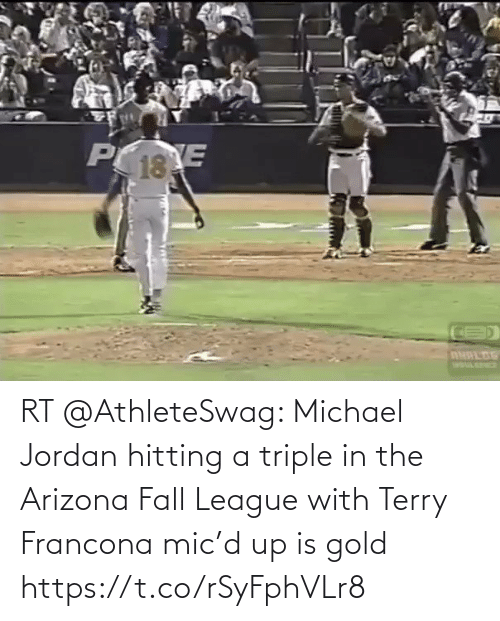 triple: RT @AthleteSwag: Michael Jordan hitting a triple in the Arizona Fall League with Terry Francona mic'd up is gold https://t.co/rSyFphVLr8