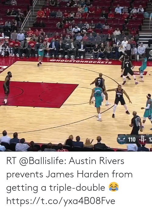 triple double: RT @Ballislife: Austin Rivers prevents James Harden from getting a triple-double 😂 https://t.co/yxa4B08Fve