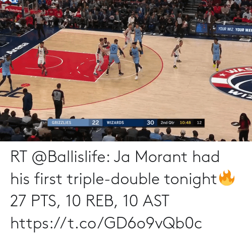 triple double: RT @Ballislife: Ja Morant had his first triple-double tonight🔥  27 PTS, 10 REB, 10 AST https://t.co/GD6o9vQb0c