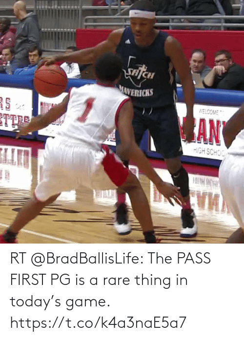 pass: RT @BradBallisLife: The PASS FIRST PG is a rare thing in today's game.   https://t.co/k4a3naE5a7