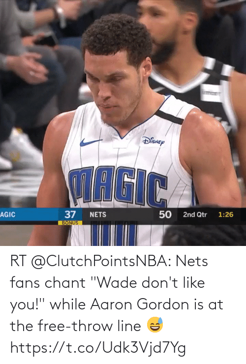"Nets: RT @ClutchPointsNBA: Nets fans chant ""Wade don't like you!"" while Aaron Gordon is at the free-throw line 😅 https://t.co/Udk3Vjd7Yg"