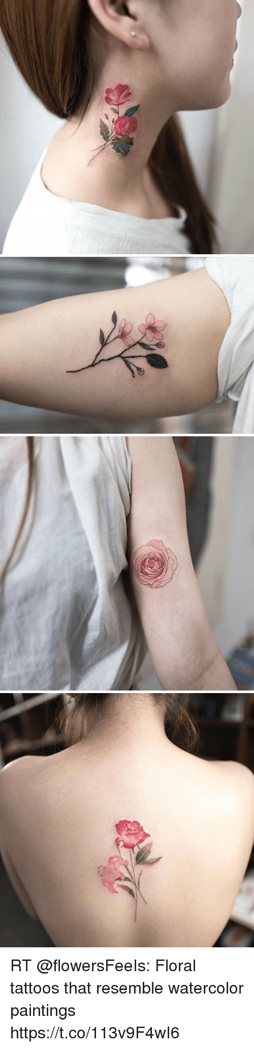 Rt Floral Tattoos That Resemble Watercolor Paintings