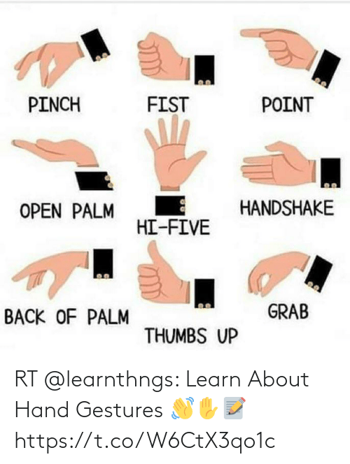 Gestures: RT @learnthngs: Learn About Hand Gestures 👋✋📝 https://t.co/W6CtX3qo1c