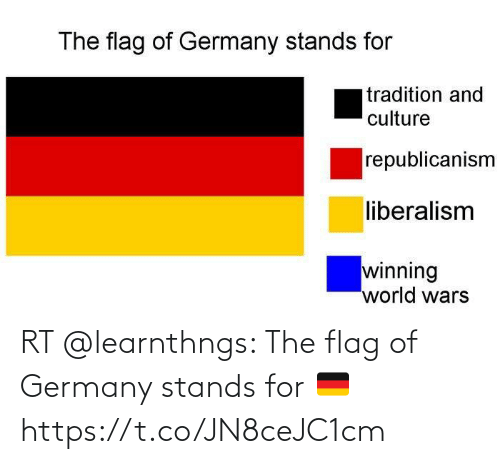 stands for: RT @learnthngs: The flag of Germany stands for 🇩🇪 https://t.co/JN8ceJC1cm