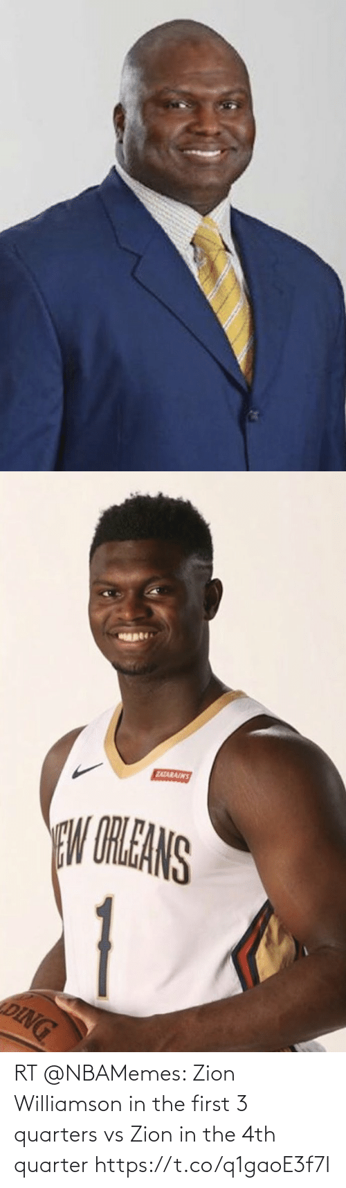 Nbamemes: RT @NBAMemes: Zion Williamson in the first 3 quarters vs Zion in the 4th quarter https://t.co/q1gaoE3f7I