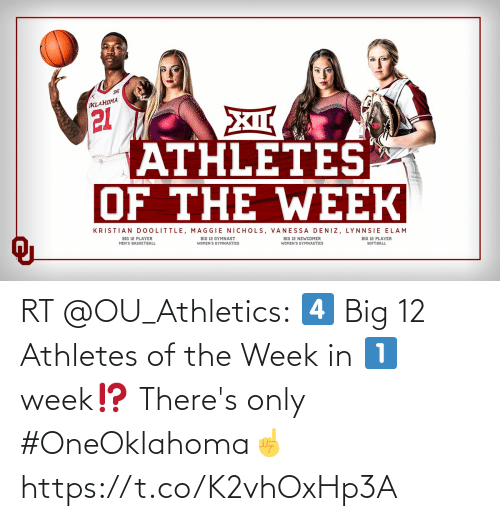 Athletics: RT @OU_Athletics: 4️⃣ Big 12 Athletes of the Week in 1️⃣ week⁉️  There's only #OneOklahoma☝️ https://t.co/K2vhOxHp3A