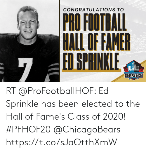 Sprinkle: RT @ProFootballHOF: Ed Sprinkle has been elected to the Hall of Fame's Class of 2020! #PFHOF20   @ChicagoBears https://t.co/sJaOtthXmW
