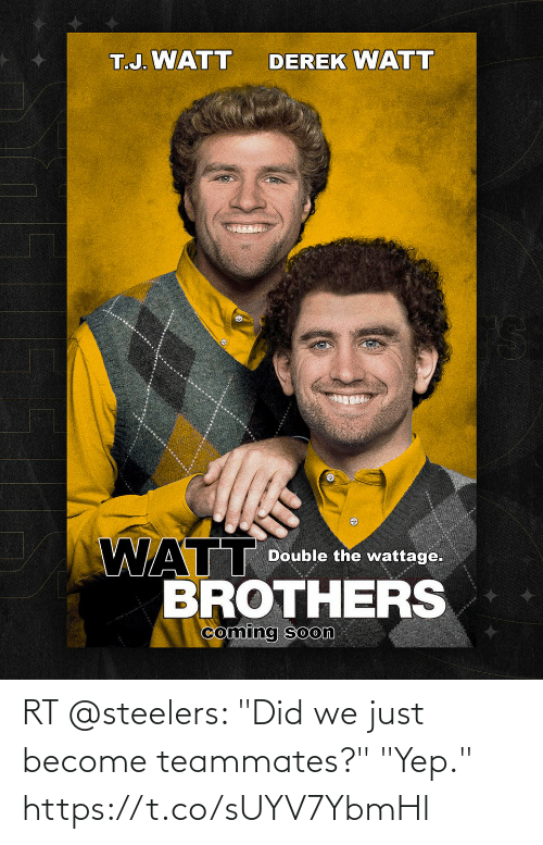 """Steelers: RT @steelers: """"Did we just become teammates?""""  """"Yep."""" https://t.co/sUYV7YbmHl"""