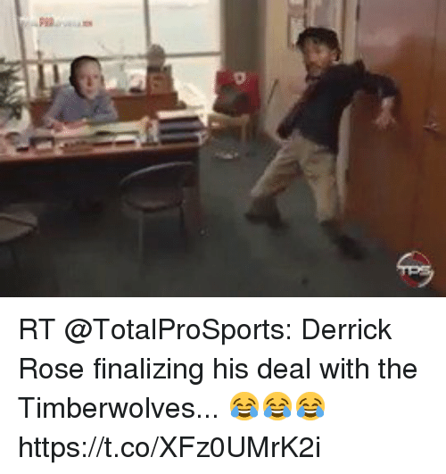 Derrick Rose, Football, and Nfl: RT @TotalProSports: Derrick Rose finalizing his deal with the Timberwolves...  😂😂😂 https://t.co/XFz0UMrK2i