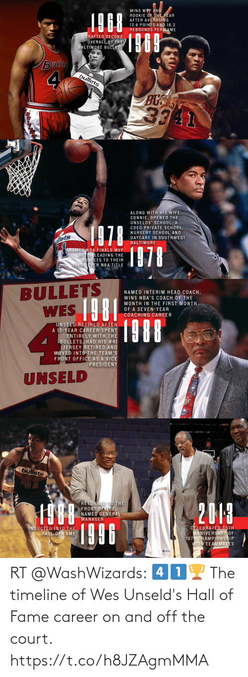Wes: RT @WashWizards: 4️⃣1️⃣🏆  The timeline of Wes Unseld's Hall of Fame career on and off the court. https://t.co/h8JZAgmMMA