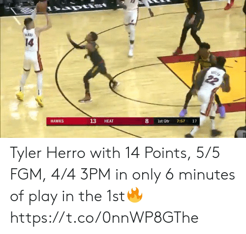 Heat: rtist  14  22  17  7:57  8  1st Qtr  13  HEAT  HAWKS Tyler Herro with 14 Points, 5/5 FGM, 4/4 3PM in only 6 minutes of play in the 1st🔥 https://t.co/0nnWP8GThe