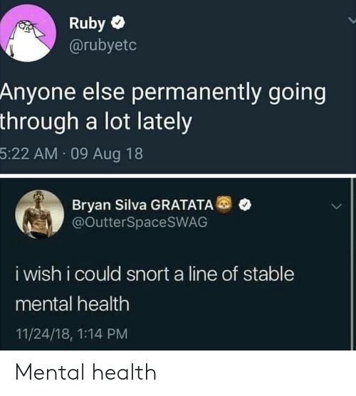 ruby: Ruby  @rubyetc  Anyone else permanently going  through a lot lately  5:22 AM 09 Aug 18  Bryan Silva GRATATA  @OutterSpaceSWAG  i wish i could snort a line of stable  mental health  11/24/18, 1:14 PM Mental health