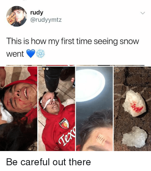 Memes, Chat, and Snow: rudy  @rudyymtz  This is how my first time seeing snow  went Vee  CHAT Be careful out there