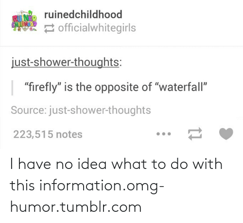 "Shower thoughts: ruinedchildhood  RU NED  CHLDHOD  2 officialwhitegirls  just-shower-thoughts:  ""firefly"" is the opposite of ""waterfall""  Source: just-shower-thoughts  223,515 notes I have no idea what to do with this information.omg-humor.tumblr.com"