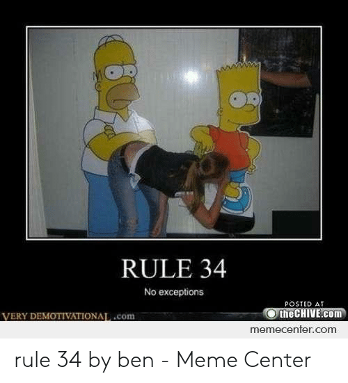 Posted At The Chive: RULE 34  No exceptions  POSTED AT  the CHIVE.com  om  memecenter.com rule 34 by ben - Meme Center