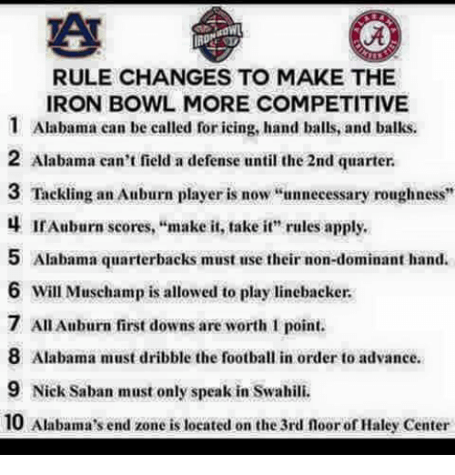 """iron bowl: RULE CHANGES TO MAKE THE  IRON BOWL MORE COMPETITIVE  1 Alabama can be called foricing, hand balls, and balks.  2 Alabama can't field a defense until the 2nd quarter.  3 Tackling an Auburn player is now  unnecessary roughness  4 IrAuburn scores, make it, take it"""" rules apply.  5 Alabama quarterbacks must use their non-dominant hand.  6 will Muschamp is allowed to play linebacker.  7 Au Auburn first downs are worth point.  8 Alabama must dribble the football in order to advance.  9 Nick Saban must only speak in Swahili.  10 Alabama's end zone is located on the 3rd noor ofHaley Center"""
