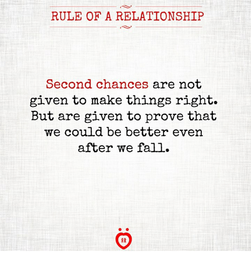 Fall, Make, and Relationship: RULE OF A RELATIONSHIP  Second chances are not  given to make things right.  But are given to prove that  we could be better even  after we fall.  1R