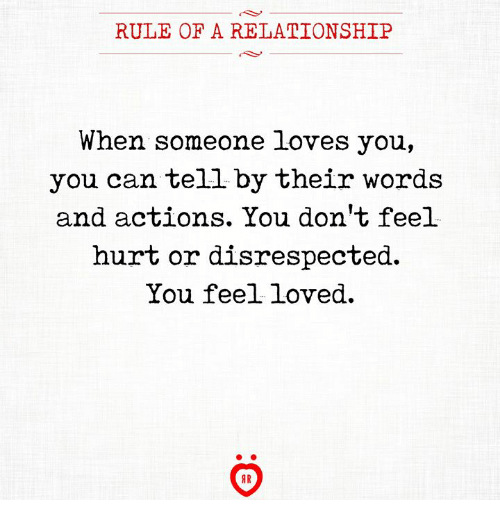 Can, Words, and You: RULE OF A RELATIONSHIP  When someone loves you,  you can tell by their words  and actions. You don't feel  hurt or disrespected  You feel loved