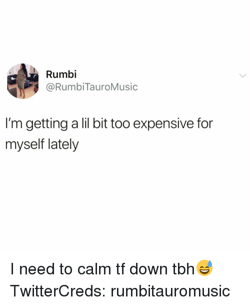 lil bit: Rumbi  @RumbiTauroMusic  I'm getting a lil bit too expensive for  myself lately I need to calm tf down tbh😅 TwitterCreds: rumbitauromusic