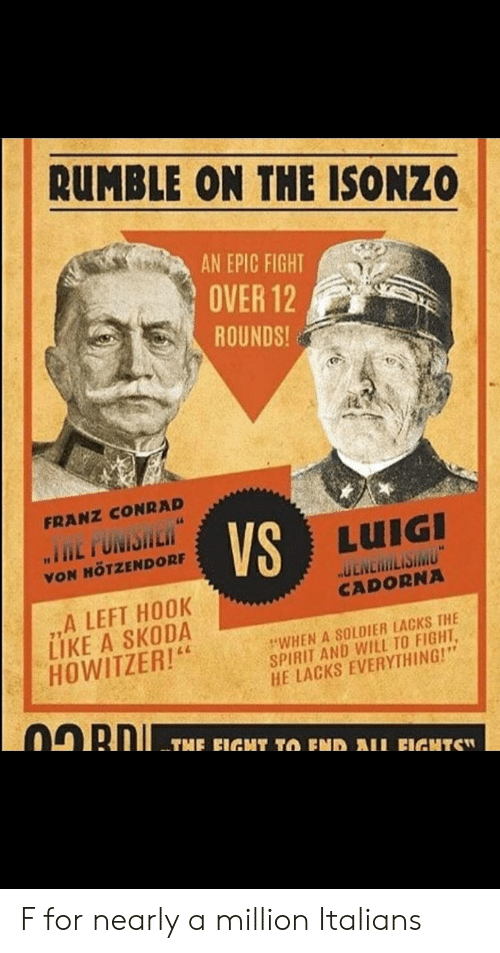 """skoda: RUMBLE ON THE ISONZO  AN EPIC FIGHT  OVER 12  ROUNDS  FRANZ CONRAD  L TUM  VS  LUIGI  VON MÖTZENDORF  ,,A LEFT HOOK  LIKE A SKODA  HOWITZER!4  CADORNA  """"WHEN A SOLDIER LACKS THE  SPIRIT AND WILL TO FIGHT  HE LACKS EVERYTHING!"""" F for nearly a million Italians"""